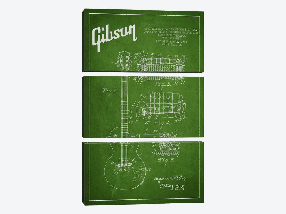 Gibson Guitar Green Patent Blueprint by Aged Pixel 3-piece Canvas Print