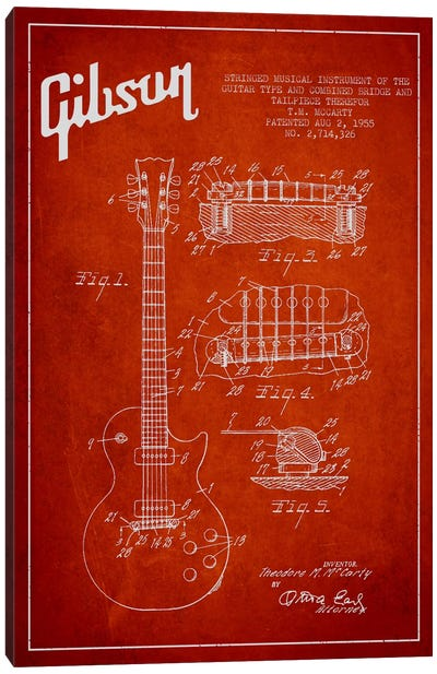 Gibson Guitar Red Patent Blueprint Canvas Art Print