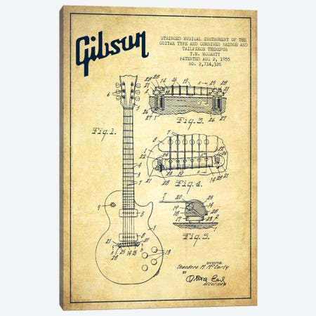 Gibson Guitar Vintage Patent Blueprint Canvas Print #ADP957} by Aged Pixel Canvas Art