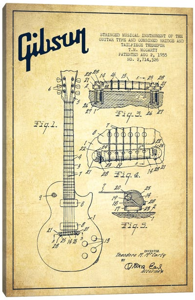 Gibson Guitar Vintage Patent Blueprint Canvas Art Print