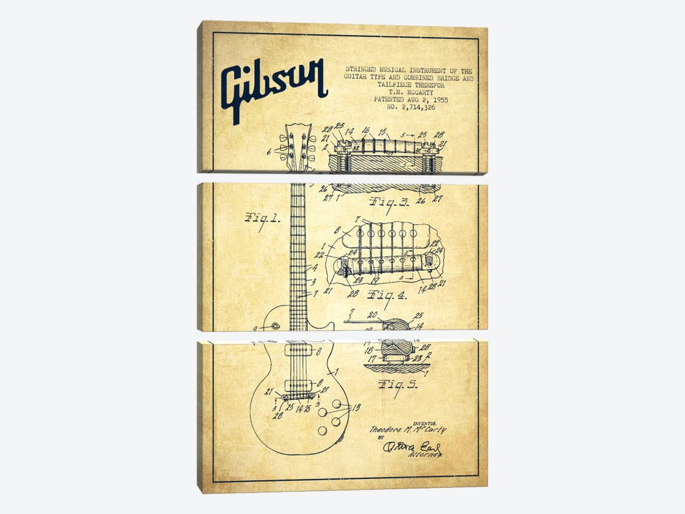 Gibson Guitar Vintage Patent Blueprint by Aged Pixel 3-piece Art Print