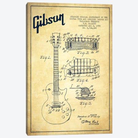 Gibson Guitar Vintage Patent Blueprint Canvas Print #ADP957} by Aged Pixel Canvas Art