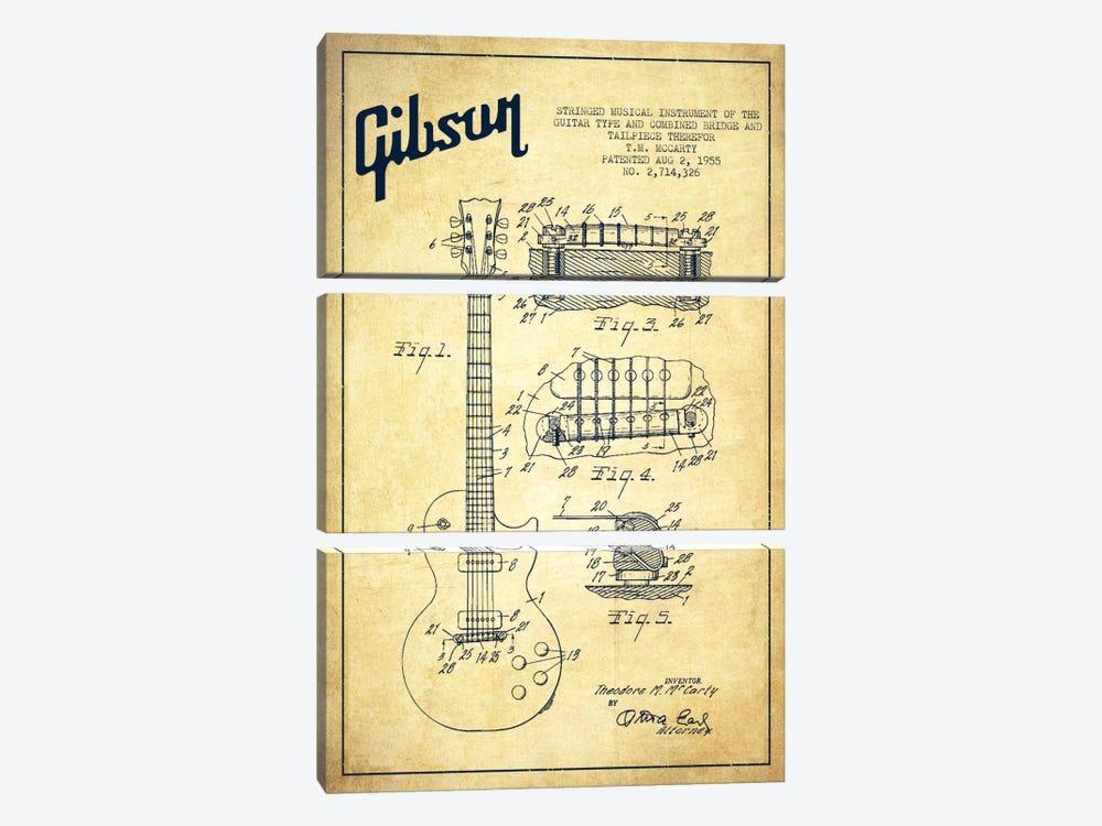 Gibson Guitar Vintage Patent Blueprint by Aged Pixel 3-piece Art Print