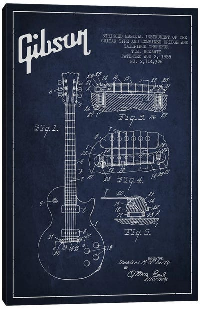 Gibson Guitar Blue Patent Blueprint Canvas Art Print