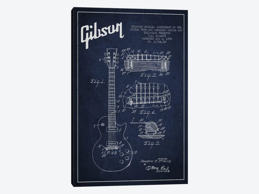 Gibson Guitar Blue Patent Blueprint by Aged Pixel 1-piece Canvas Artwork