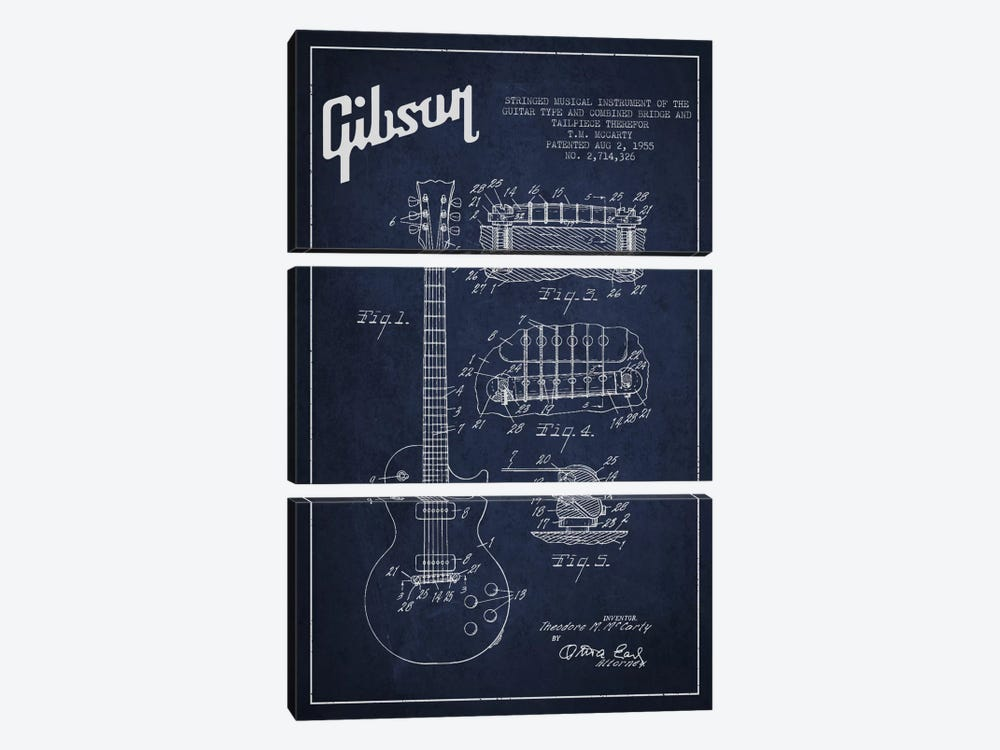 Gibson Guitar Blue Patent Blueprint by Aged Pixel 3-piece Canvas Wall Art
