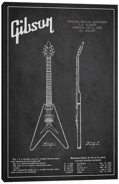 Gibson Electric Guitar Charcoal Patent Blueprint Canvas Art Print
