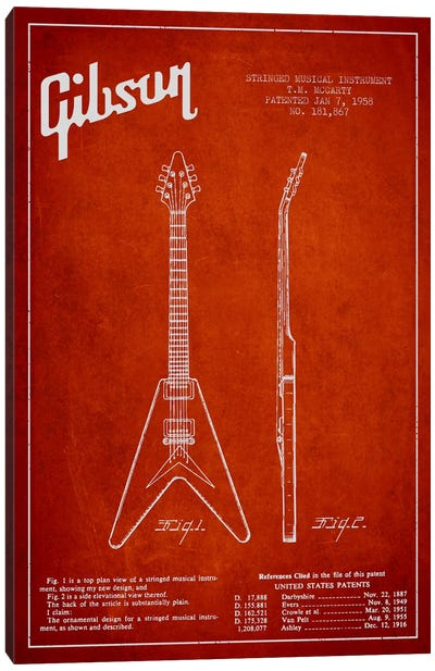 Gibson Electric Guitar Red Patent Blueprint Canvas Art Print