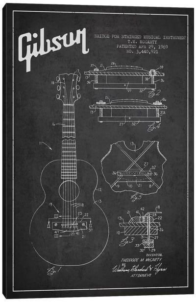 Gibson Stringed Charcoal Patent Blueprint Canvas Print #ADP964