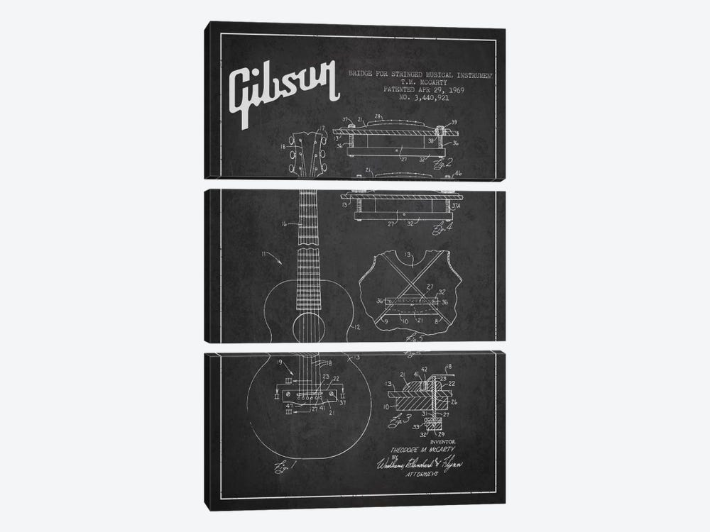Gibson Stringed Charcoal Patent Blueprint by Aged Pixel 3-piece Canvas Art Print