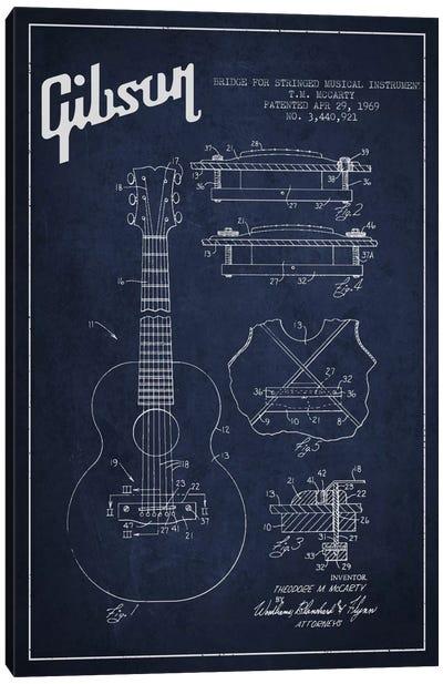 Gibson Stringed Navy Blue Patent Blueprint Canvas Art Print
