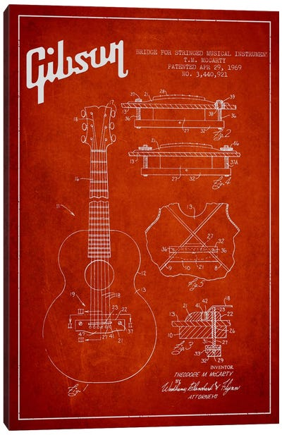 Gibson Stringed Red Patent Blueprint Canvas Art Print