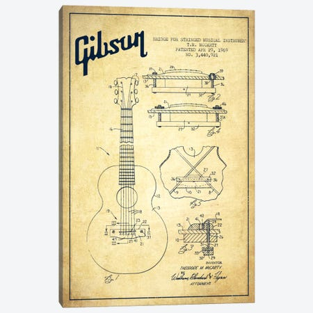 Gibson Stringed Vintage Patent Blueprint Canvas Print #ADP968} by Aged Pixel Canvas Art