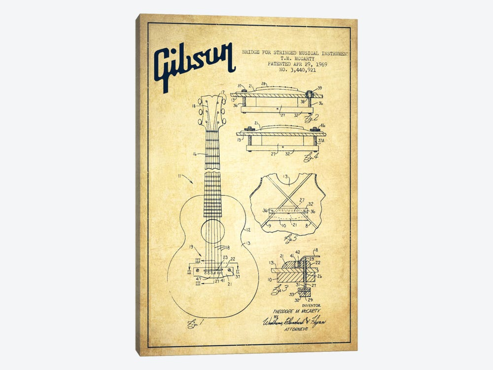 Gibson Stringed Vintage Patent Blueprint by Aged Pixel 1-piece Canvas Print