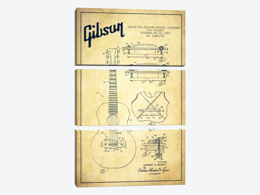 Gibson Stringed Vintage Patent Blueprint by Aged Pixel 3-piece Art Print