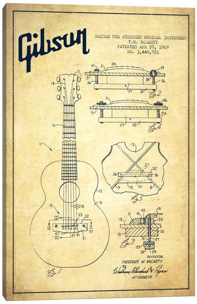 Gibson Stringed Vintage Patent Blueprint Canvas Art Print