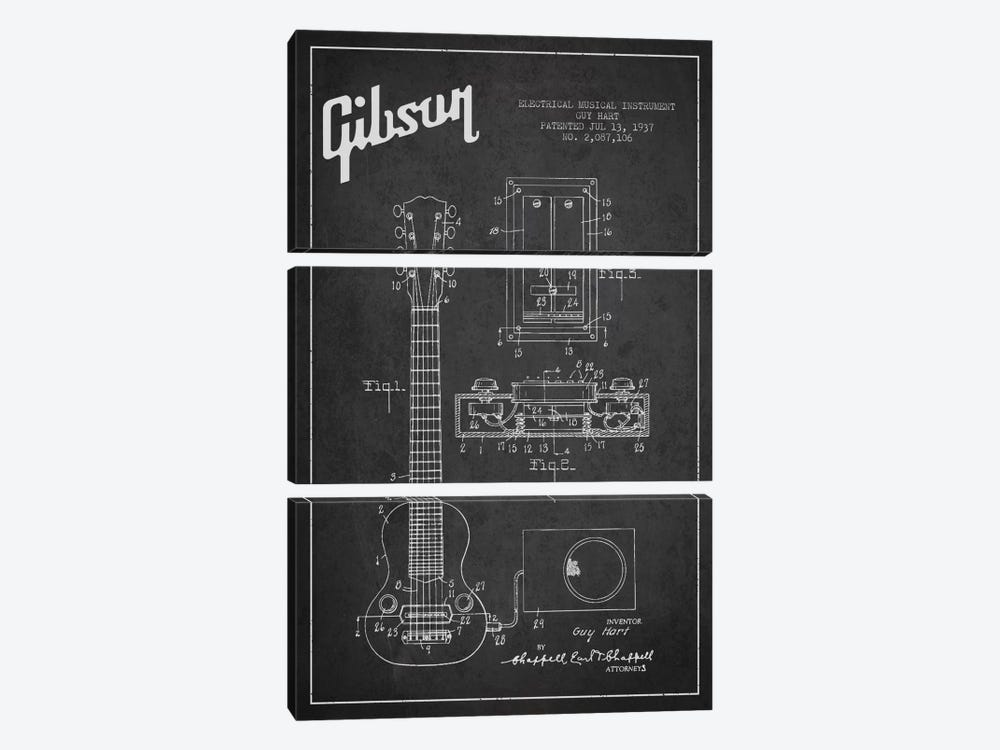 Gibson Eguitar Charcoal Patent Blueprint by Aged Pixel 3-piece Canvas Wall Art