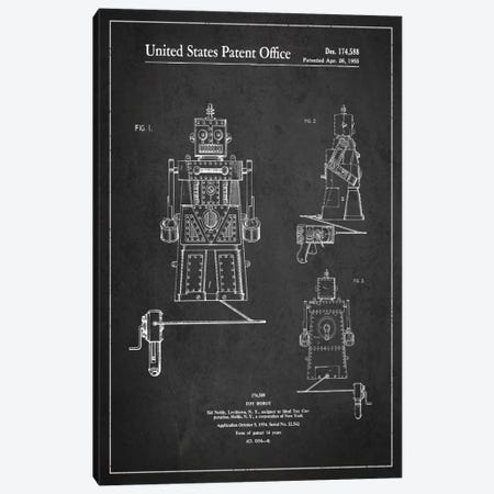 Toy Robot Dark Patent Blueprint Canvas Print #ADP96} by Aged Pixel Canvas Art