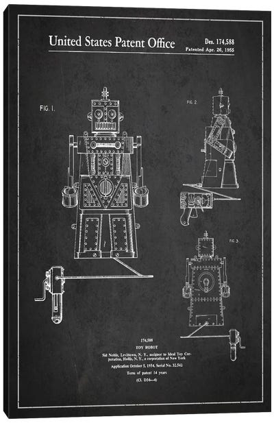 Toy Robot Dark Patent Blueprint Canvas Art Print