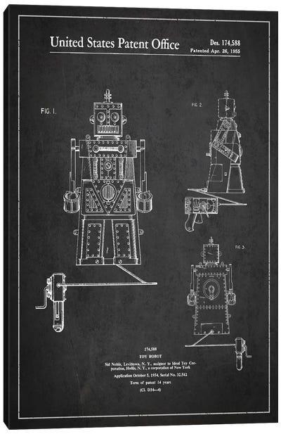 Toy Robot Dark Patent Blueprint Canvas Art Print