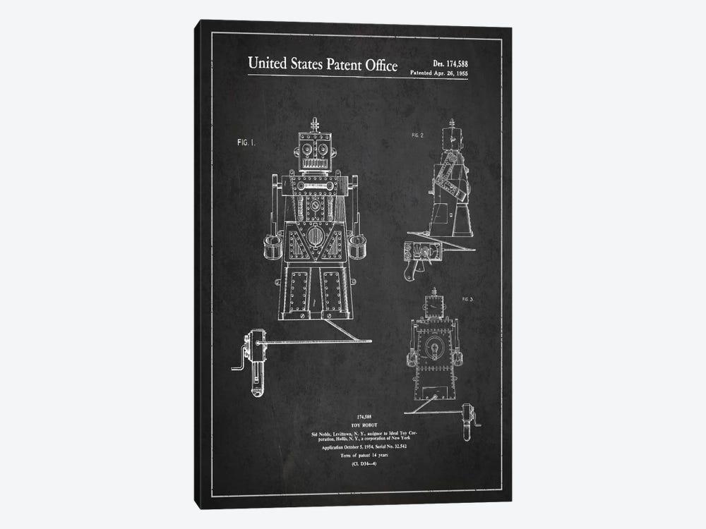 Toy Robot Dark Patent Blueprint by Aged Pixel 1-piece Canvas Artwork