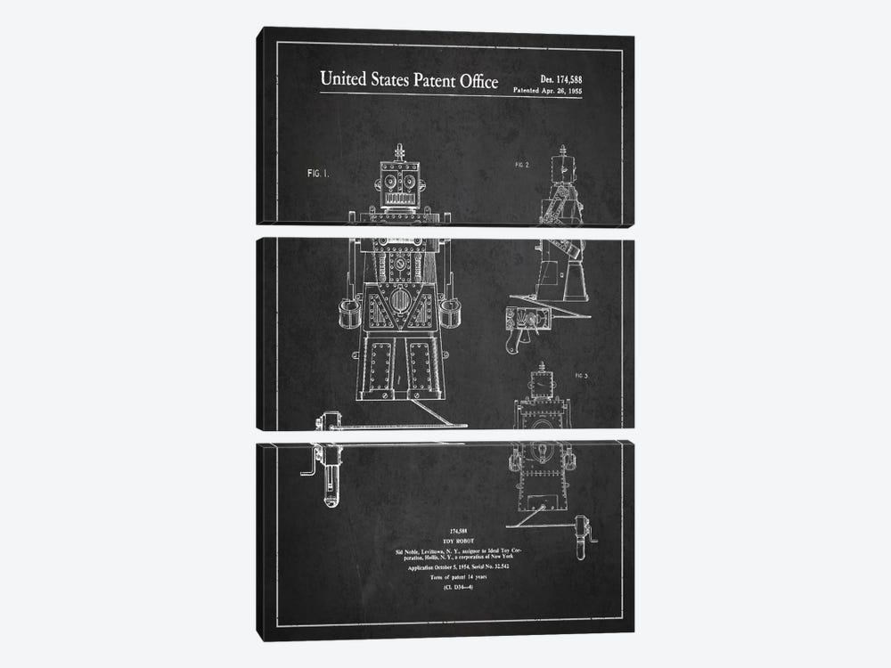 Toy Robot Dark Patent Blueprint by Aged Pixel 3-piece Canvas Artwork