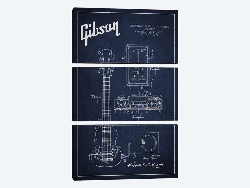 Gibson Eguitar Navy Blue Patent Blueprint by Aged Pixel 3-piece Art Print
