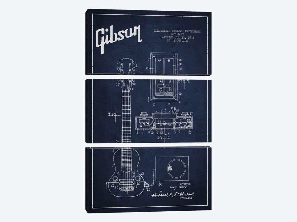 Gibson Eguitar Navy Blue Patent Blueprint by Aged Pixel 3-piece Art Print