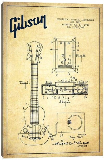 Gibson Eguitar Vintage Patent Blueprint Canvas Print #ADP973