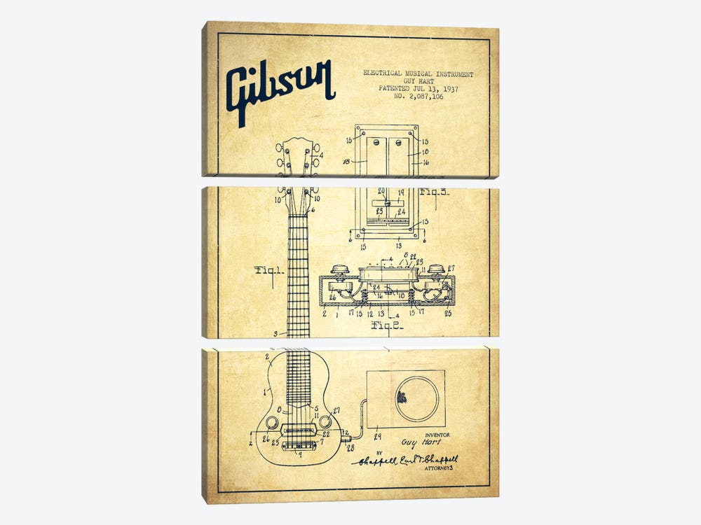 Gibson Eguitar Vintage Patent Blueprint by Aged Pixel 3-piece Art Print
