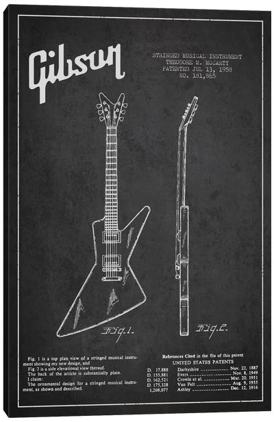 Gibson Electric Guitar Charcoal Patent Blueprint Canvas Print #ADP974