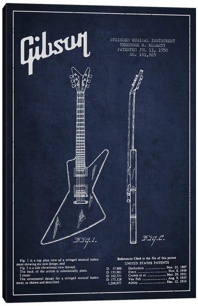 Gibson Electric Guitar Navy Blue Patent Blueprint Canvas Print #ADP976