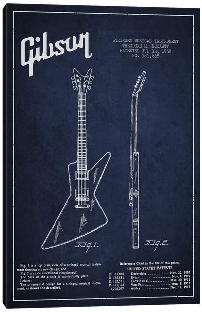 Gibson Electric Guitar Navy Blue Patent Blueprint Canvas Art Print