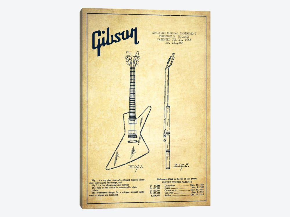 Gibson Electric Guitar Vintage Patent Blueprint by Aged Pixel 1-piece Canvas Wall Art