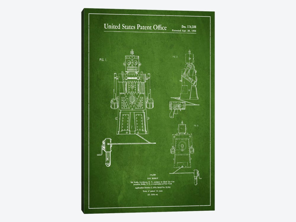 Toy robot green patent blueprint art print by aged pixel icanvas toy robot green patent blueprint by aged pixel 1 piece canvas print malvernweather Gallery