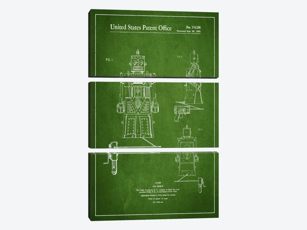 Toy Robot Green Patent Blueprint by Aged Pixel 3-piece Canvas Print