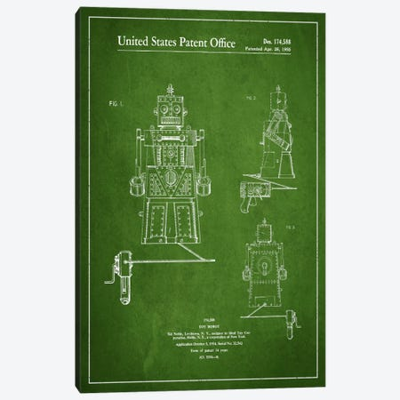 Toy Robot Green Patent Blueprint Canvas Print #ADP97} by Aged Pixel Canvas Wall Art