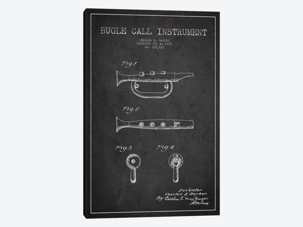 Bugle Charcoal Patent Blueprint by Aged Pixel 1-piece Canvas Art Print