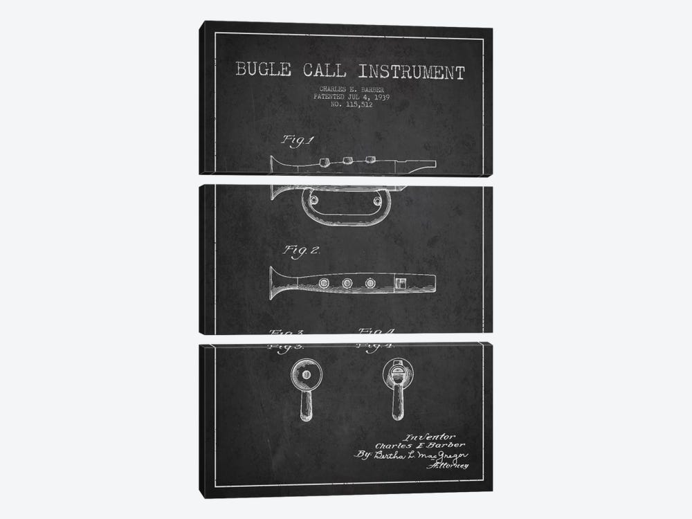 Bugle Charcoal Patent Blueprint by Aged Pixel 3-piece Canvas Art Print