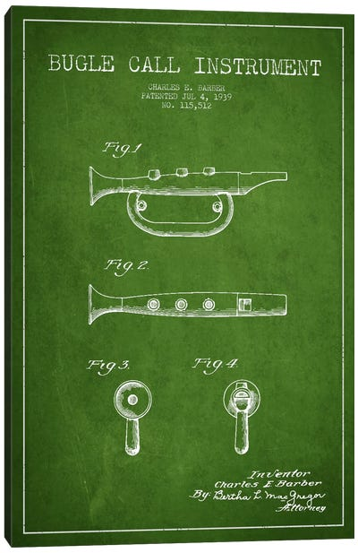 Bugle Green Patent Blueprint Canvas Art Print