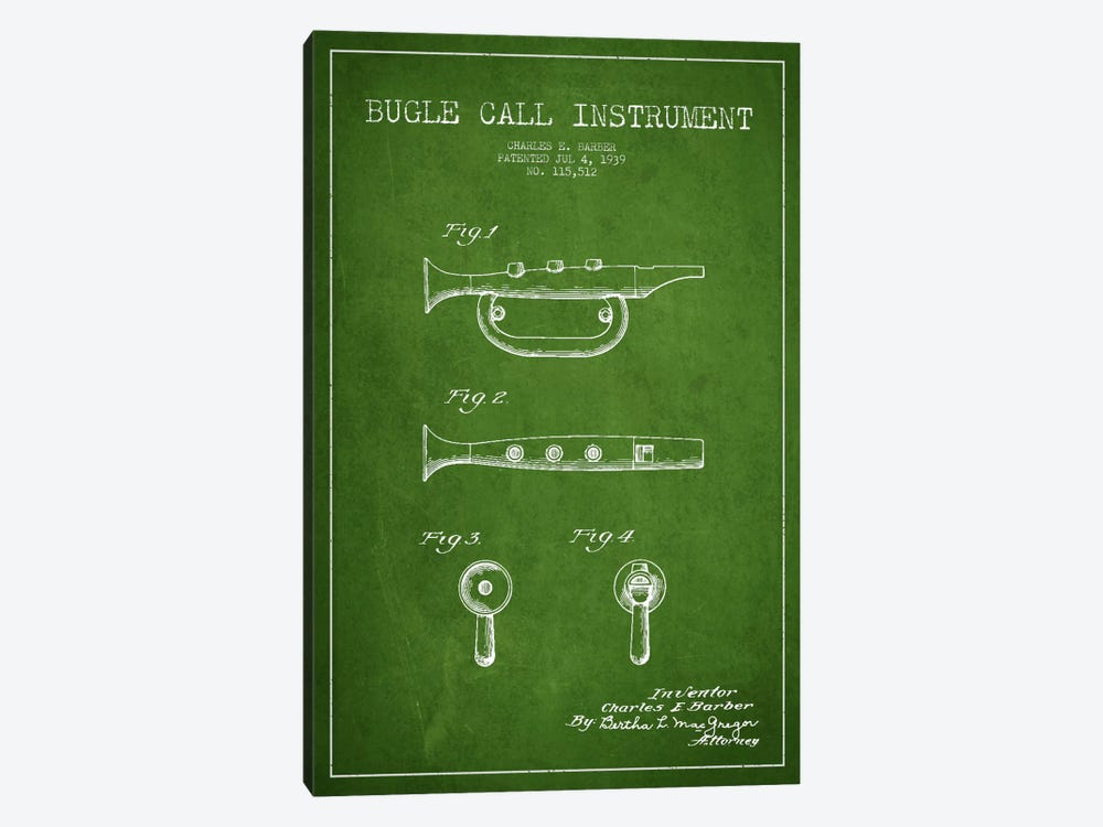 Bugle Green Patent Blueprint by Aged Pixel 1-piece Canvas Wall Art