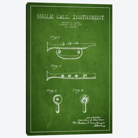 Bugle Green Patent Blueprint Canvas Print #ADP985} by Aged Pixel Canvas Print