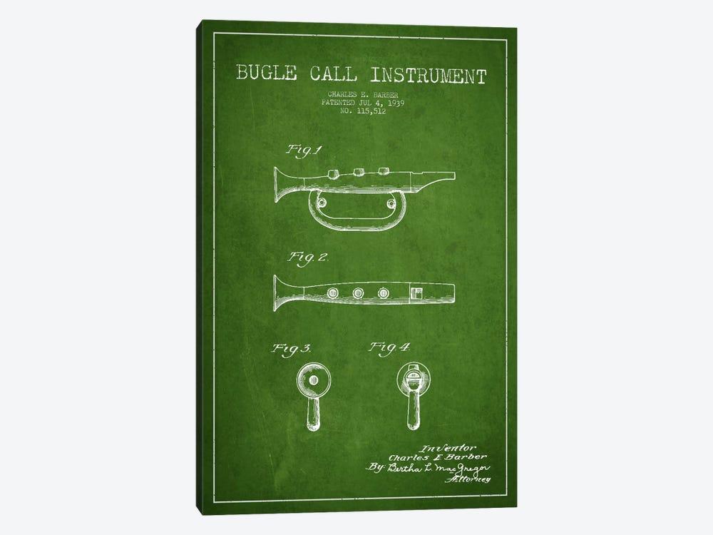 Bugle Green Patent Blueprint by Aged Pixel 1-piece Canvas Wall Art