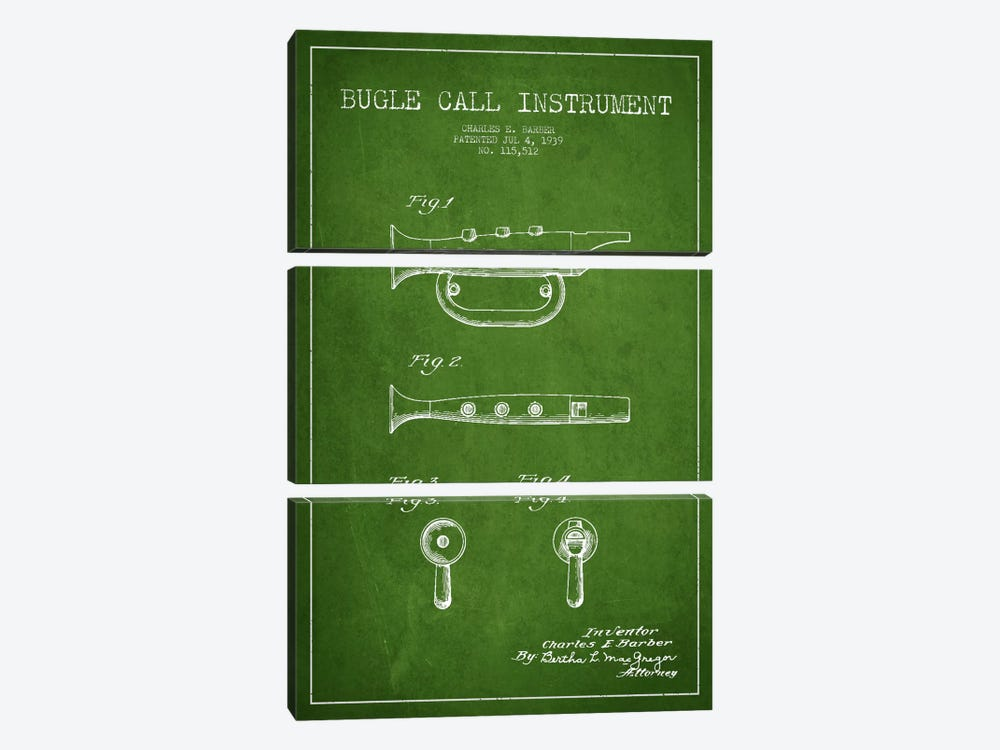 Bugle Green Patent Blueprint by Aged Pixel 3-piece Canvas Art