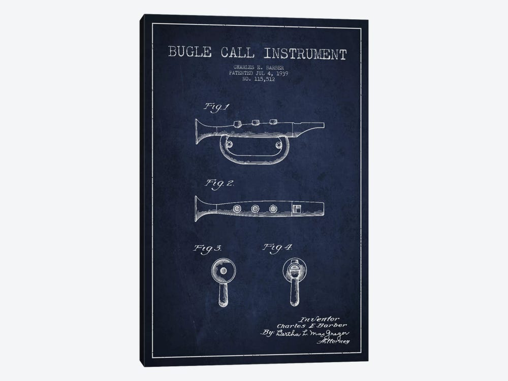 Bugle Navy Blue Patent Blueprint by Aged Pixel 1-piece Canvas Print