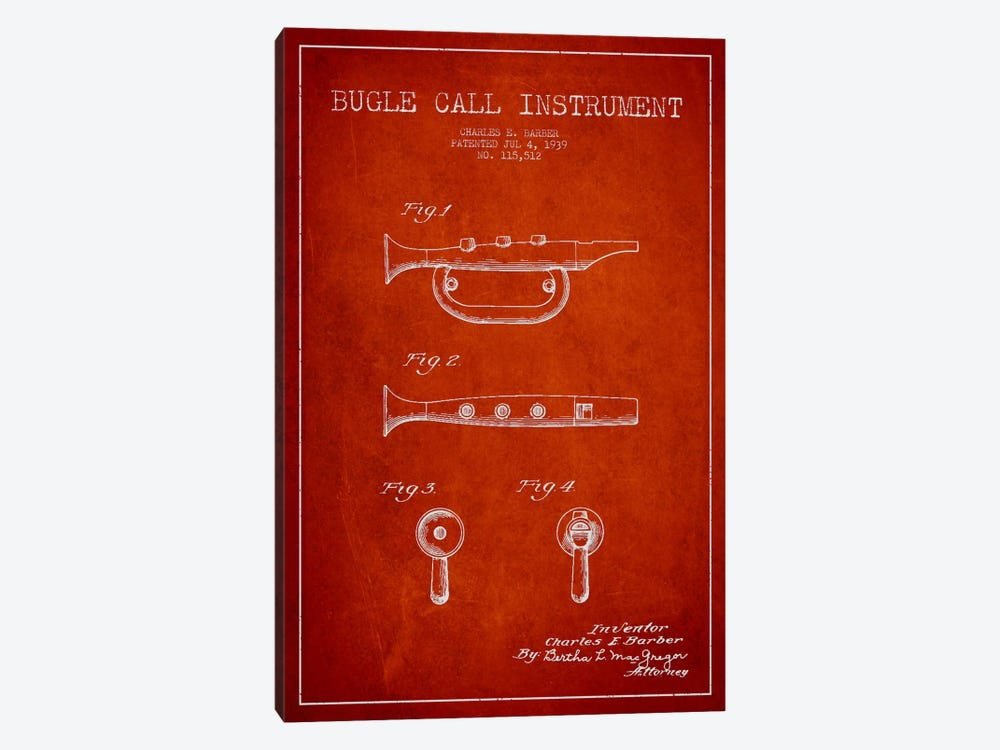 Bugle Red Patent Blueprint by Aged Pixel 1-piece Canvas Art