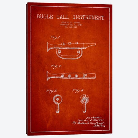 Bugle Red Patent Blueprint Canvas Print #ADP987} by Aged Pixel Canvas Art Print