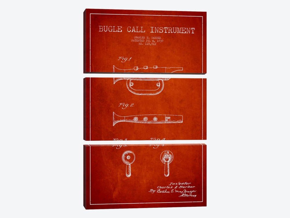 Bugle Red Patent Blueprint by Aged Pixel 3-piece Canvas Artwork