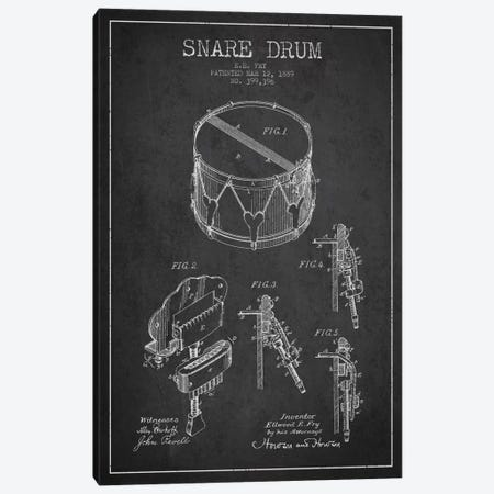 Snare Drum Charcoal Patent Blueprint Canvas Print #ADP989} by Aged Pixel Canvas Art