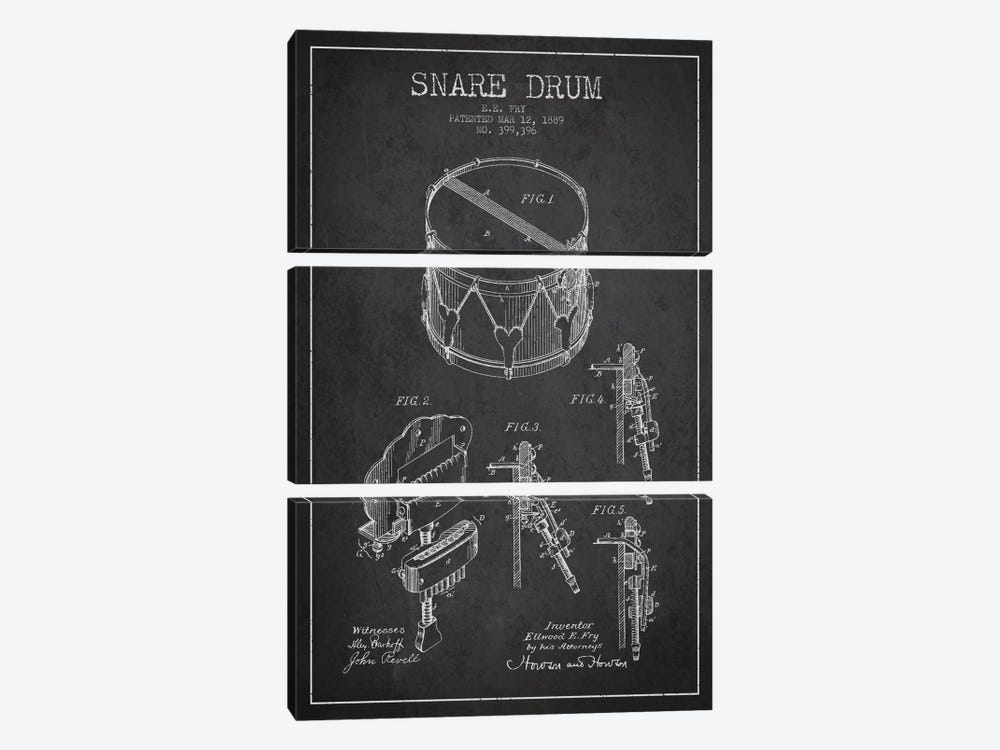 Snare Drum Charcoal Patent Blueprint by Aged Pixel 3-piece Canvas Wall Art